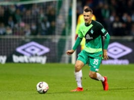 BREMEN, GERMANY - FEBRUARY 10: Maximilian Eggestein of Bremen runs with the ball during the Bundesliga match between SV Werder Bremen and FC Augsburg at Weserstadion on February 10, 2019 in Bremen, Germany. (Photo by Martin Rose/Bongarts/Getty Images)
