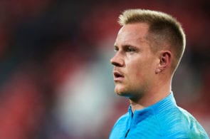 BILBAO, SPAIN - FEBRUARY 10: Marc-Andre ter Stegen of FC Barcelona looks on prior to the start the La Liga match between Athletic Club and FC Barcelona at San Mames Stadium on February 10, 2019 in Bilbao, Spain. (Photo by Juan Manuel Serrano Arce/Getty Images)