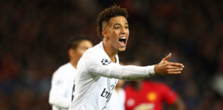 MANCHESTER, ENGLAND - FEBRUARY 12: Thilo Kehrer of Paris Saint-Germain during the UEFA Champions League Round of 16 First Leg match between Manchester United and Paris Saint-Germain at Old Trafford on February 12, 2019 in Manchester, England. (Photo by Michael Steele/Getty Images)