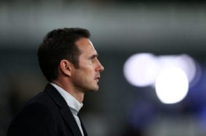 DERBY, ENGLAND - FEBRUARY 20: Frank Lampard the manager of Derby County looks on during the Sky Bet Championship match between Derby County and Millwall at Pride Park Stadium on February 20, 2019 in Derby, England. (Photo by Alex Livesey/Getty Images)
