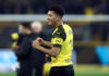 DORTMUND, GERMANY - FEBRUARY 24: Jadon Malik Sancho of Borussia Dortmund celebrates after the Bundesliga match between Borussia Dortmund and Bayer 04 Leverkusen at Signal Iduna Park on February 24, 2019 in Dortmund, Germany. (Photo by Alex Grimm/Bongarts/Getty Images)