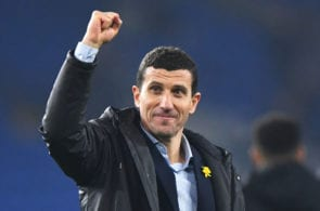 CARDIFF, WALES - FEBRUARY 22: Javi Gracia, Manager of Watford celebrates victory after the Premier League match between Cardiff City and Watford FC at Cardiff City Stadium on February 22, 2019 in Cardiff, United Kingdom. (Photo by Stu Forster/Getty Images)