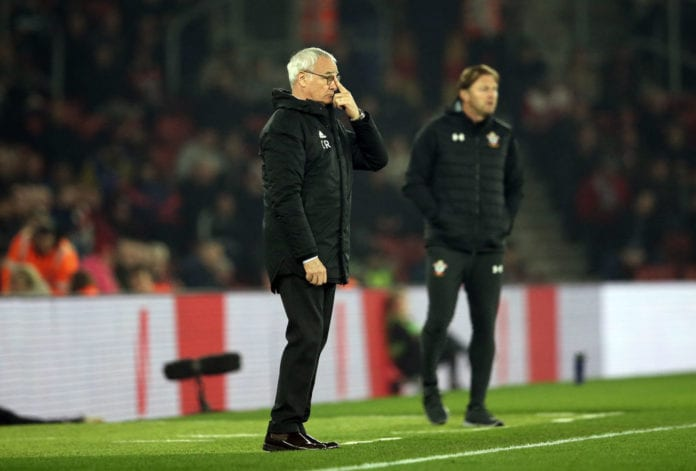 SOUTHAMPTON, ENGLAND - FEBRUARY 27: Claudio Ranieri, Manager of Fulham reacts(L) as Ralph Hasenhuettl, Manager of Southampton looks on during the Premier League match between Southampton FC and Fulham FC at St Mary's Stadium on February 27, 2019 in Southampton, United Kingdom. (Photo by Steve Bardens/Getty Images)