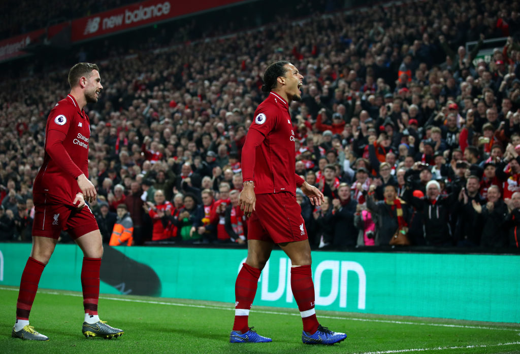LIVERPOOL, ENGLAND - FEBRUARY 27: Virgil van Dijk of Liverpool celebrates after scoring his team's fourth goal during the Premier League match between Liverpool FC and Watford FC at Anfield on February 27, 2019 in Liverpool, United Kingdom. (Photo by Clive Brunskill/Getty Images)