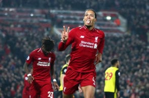LIVERPOOL, ENGLAND - FEBRUARY 27: Virgil van Dijk of Liverpool celebrates after scoring his team's fifth goal during the Premier League match between Liverpool FC and Watford FC at Anfield on February 27, 2019 in Liverpool, United Kingdom. (Photo by Clive Brunskill/Getty Images)