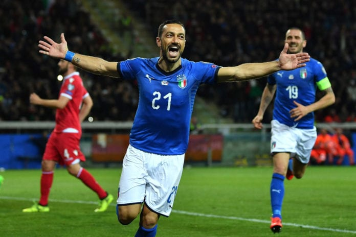 Image result for photos of quagliarella in italy jersey