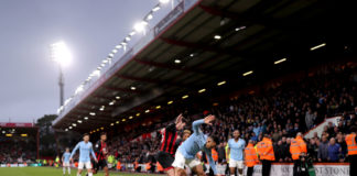 BOURNEMOUTH, ENGLAND - MARCH 02: Gabriel Jesus of Manchester City is challenged by Adam Smith of AFC Bournemouth during the Premier League match between AFC Bournemouth and Manchester City at Vitality Stadium on March 02, 2019 in Bournemouth, United Kingdom. (Photo by Richard Heathcote/Getty Images)