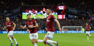LONDON, ENGLAND - MARCH 02: Declan Rice of West Ham United celebrates after scoring his team's first goal during the Premier League match between West Ham United and Newcastle United at London Stadium on March 02, 2019 in London, United Kingdom. (Photo by Stephen Pond/Getty Images)