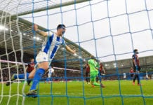 BRIGHTON, ENGLAND - MARCH 02: Lewis Dunk of Brighton & Hove Albion celebrates team mate Florin Andone's goal during the Premier League match between Brighton & Hove Albion and Huddersfield Town at American Express Community Stadium on March 02, 2019 in Brighton, United Kingdom. (Photo by Mike Hewitt/Getty Images)