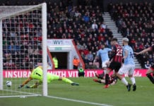 BOURNEMOUTH, ENGLAND - MARCH 02: Riyad Mahrez of Manchester City scores his team's first goal past Artur Boruc of AFC Bournemouth during the Premier League match between AFC Bournemouth and Manchester City at Vitality Stadium on March 02, 2019 in Bournemouth, United Kingdom. (Photo by Richard Heathcote/Getty Images)
