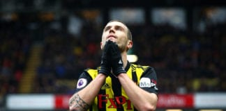 WATFORD, ENGLAND - MARCH 03: Daryl Janmaat of Watford reacts during the Premier League match between Watford FC and Leicester City at Vicarage Road on March 03, 2019 in Watford, United Kingdom. (Photo by Julian Finney/Getty Images)