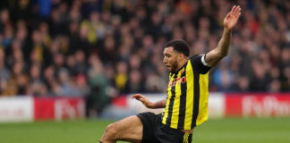 WATFORD, ENGLAND - MARCH 03: Troy Deeney of Watford in action during the Premier League match between Watford FC and Leicester City at Vicarage Road on March 03, 2019 in Watford, United Kingdom. (Photo by Richard Heathcote/Getty Images)