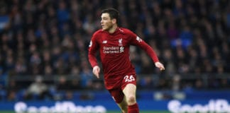 LIVERPOOL, ENGLAND - MARCH 03: Andy Robertson of Liverpool runs with the ball during the Premier League match between Everton FC and Liverpool FC at Goodison Park on March 03, 2019 in Liverpool, United Kingdom. (Photo by Shaun Botterill/Getty Images)