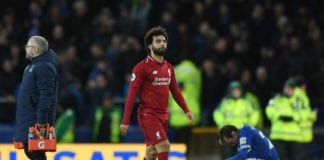 LIVERPOOL, ENGLAND - MARCH 03: Mohamed Salah of Liverpool looks despondent after the Premier League match between Everton FC and Liverpool FC at Goodison Park on March 03, 2019 in Liverpool, United Kingdom. (Photo by Shaun Botterill/Getty Images)