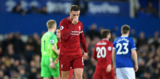 LIVERPOOL, ENGLAND - MARCH 03: Jordan Henderson of Liverpool looks despondent after the Premier League match between Everton FC and Liverpool FC at Goodison Park on March 03, 2019 in Liverpool, United Kingdom. (Photo by Michael Regan/Getty Images)