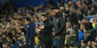 LIVERPOOL, ENGLAND - MARCH 03: Jurgen Klopp, Manager of Liverpool during the Premier League match between Everton FC and Liverpool FC at Goodison Park on March 03, 2019 in Liverpool, United Kingdom. (Photo by Shaun Botterill/Getty Images)
