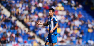 BARCELONA, SPAIN - MARCH 02: Wu Lei of RCD Espanyol looks on during the La Liga match between RCD Espanyol and Real Valladolid CF at RCDE Stadium on March 02, 2019 in Barcelona, Spain. (Photo by Alex Caparros/Getty Images)