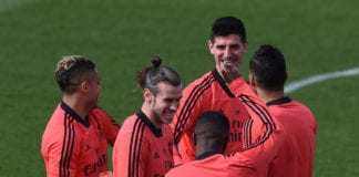 MADRID, SPAIN - MARCH 04: Gareth Bale of Real Madrid laughs with teammates during a team training session ahead the UEFA Champions League Round of 16 Second Leg match of the UEFA Champions League between Real Madrid and Ajax at Valdebebas training ground on March 04, 2019 in Madrid, Spain. (Photo by Denis Doyle/Getty Images)