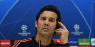 MADRID, SPAIN - MARCH 04: Santiago Solari, manager of Real Madrid holds a press conference ahead the UEFA Champions League Round of 16 Second Leg match of the UEFA Champions League between Real Madrid and Ajax at Valdebebas training ground on March 04, 2019 in Madrid, Spain. (Photo by Denis Doyle/Getty Images)