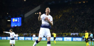 DORTMUND, GERMANY - MARCH 05: Harry Kane of Tottenham Hotspur celebrates after he scores his sides first goal during the UEFA Champions League Round of 16 Second Leg match between Borussia Dortmund and Tottenham Hotspur at Westfalen Stadium on March 05, 2019 in Dortmund, North Rhine-Westphalia. (Photo by Alex Grimm/Bongarts/Getty Images)