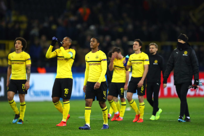 DORTMUND, GERMANY - MARCH 05: Abdou Diallo of Borussia Dortmund and team mates react after the match during the UEFA Champions League Round of 16 Second Leg match between Borussia Dortmund and Tottenham Hotspur at Westfalen Stadium on March 05, 2019 in Dortmund, North Rhine-Westphalia. (Photo by Maja Hitij/Bongarts/Getty Images)