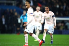 PARIS, FRANCE - MARCH 06: Mason Greenwood of Manchester United celebrates the awarding of the penalty during the UEFA Champions League Round of 16 Second Leg match between Paris Saint-Germain and Manchester United at Parc des Princes on March 06, 2019 in Paris, . (Photo by Julian Finney/Getty Images)
