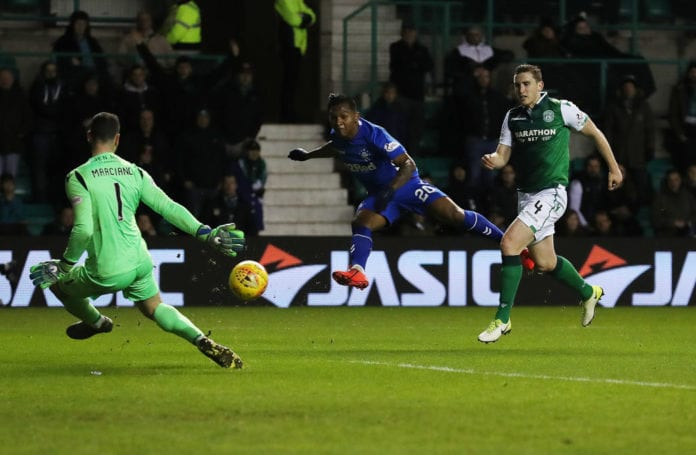 EDINBURGH, SCOTLAND - MARCH 08: Alfredo Morelos of Rangers shoots at goal during the Ladbrokes Premiership match between Hibernian and Rangers at Easter Road on March 08, 2019 in Edinburgh, United Kingdom. (Photo by Ian MacNicol/Getty Images)