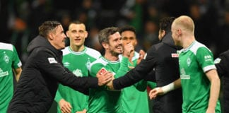 BREMEN, GERMANY - MARCH 08: Fin Bartels of Bremen celebrates with Max Kruse and Claudio Pizarro after the Bundesliga match between SV Werder Bremen and FC Schalke 04 at Weserstadion on March 08, 2019 in Bremen, Germany. (Photo by Stuart Franklin/Bongarts/Getty Images)