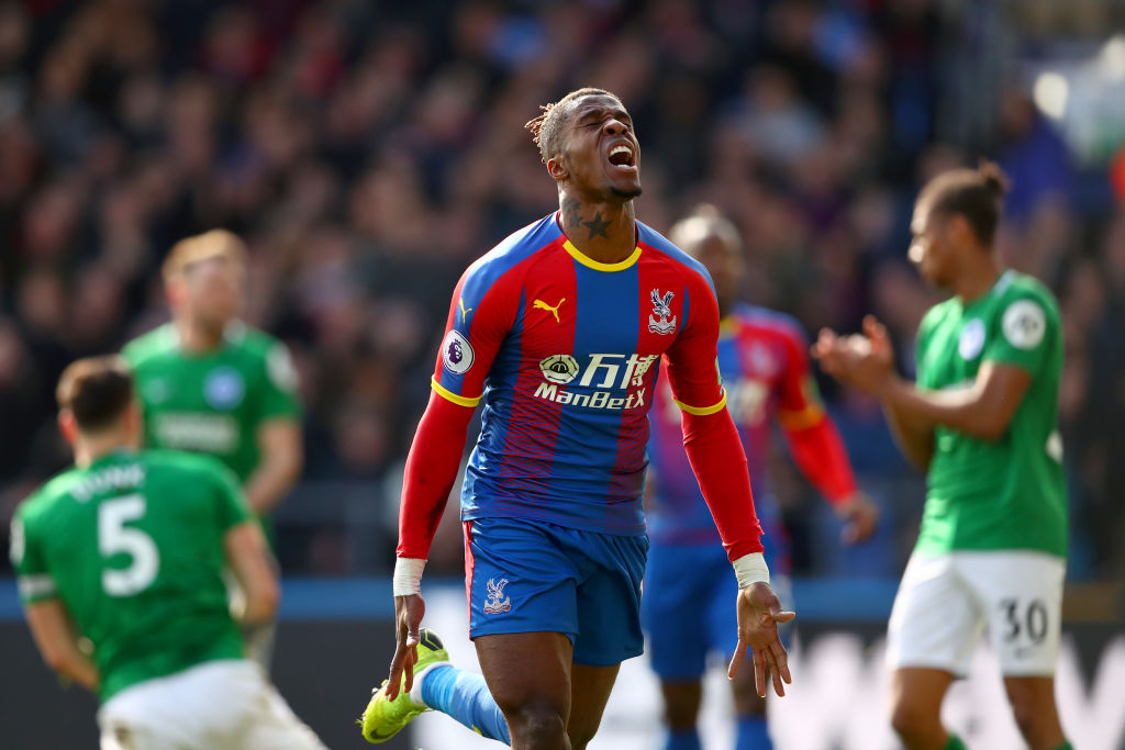 LONDON, ENGLAND - MARCH 09: Wilfried Zaha of Crystal Palace reacts to a missed opportunity during the Premier League match between Crystal Palace and Brighton & Hove Albion at Selhurst Park on March 09, 2019 in London, United Kingdom. (Photo by Dan Istitene/Getty Images)