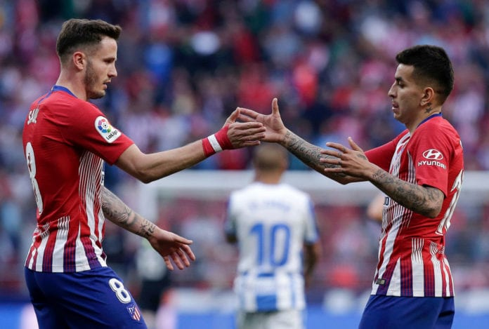 MADRID, SPAIN - MARCH 09: Saul Niguez celebrates with teammate Angel Correa of Atletico Madrid following the La Liga match between Club Atletico de Madrid and CD Leganes at Wanda Metropolitano on March 09, 2019 in Madrid, Spain. (Photo by Gonzalo Arroyo Moreno/Getty Images)