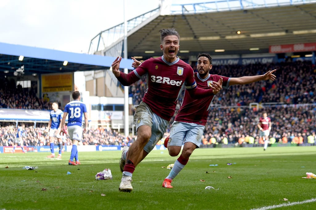 BIRMINGHAM, ENGLAND - MARCH 10: Jack Grealish of Aston Villa celebrates after scoring his sides first goal during the Sky Bet Championship match between Birmingham City v Aston Villa at St Andrew's Trillion Trophy Stadium on March 10, 2019 in Birmingham, England. (Photo by Nathan Stirk/Getty Images)