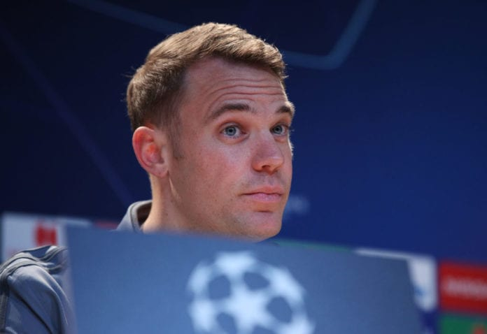 MUNICH, GERMANY - MARCH 12: Manuel Neuer looks on during a Bayern Muenchen press conference at Allianz Arena on March 12, 2019 in Munich, Germany. (Photo by Adam Pretty/Bongarts/Getty Images)