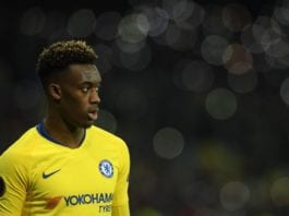 KIEV, UKRAINE - MARCH 14: Callum Hudson-Odoi of Chelsea looks on during the UEFA Europa League Round of 16 Second Leg match between Dynamo Kyiv and Chelsea at NSC Olimpiyskiy Stadium on March 14, 2019 in Kiev, Ukraine. (Photo by Mike Hewitt/Getty Images)
