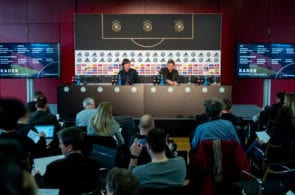 FRANKFURT AM MAIN, GERMANY - MARCH 15: Head coach Joachim Loew of the German National Team attends a press conference at DFB Headquarter on March 15, 2019 in Frankfurt am Main, Germany. Head coach of the German national team Joachim Loew informs on the squad of the upcoming matches and his general thoughts regarding the future of the team. (Photo by Alexander Scheuber/Bongarts/Getty Images)