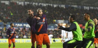 SWANSEA, WALES - MARCH 16: Sergio Aguero of Manchester City celebrates with teammates after scoring his team's third goal during the FA Cup Quarter Final match between Swansea City and Manchester City at Liberty Stadium on March 16, 2019 in Swansea, United Kingdom. (Photo by Matt McNulty - Manchester City/Man City via Getty Images)