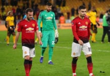 WOLVERHAMPTON, ENGLAND - MARCH 16: Juan Mata and Andreas Pereira of Manchester United leave the pitch following defeat in the FA Cup Quarter Final match between Wolverhampton Wanderers and Manchester United at Molineux on March 16, 2019 in Wolverhampton, England. (Photo by Catherine Ivill/Getty Images)