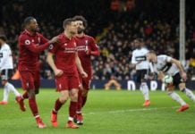 LONDON, ENGLAND - MARCH 17: James Milner of Liverpool celebrates with his teammates after he scores his sides second goal from the penalty spot during the Premier League match between Fulham FC and Liverpool FC at Craven Cottage on March 17, 2019 in London, United Kingdom. (Photo by Michael Regan/Getty Images)