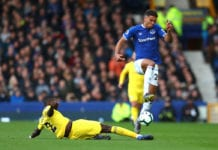 LIVERPOOL, ENGLAND - MARCH 17: Antonio Rudiger of Chelsea tackles Dominic Calvert-Lewin of Everton during the Premier League match between Everton FC and Chelsea FC at Goodison Park on March 17, 2019 in Liverpool, United Kingdom. (Photo by Catherine Ivill/Getty Images)