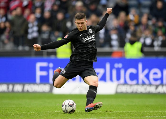 FRANKFURT AM MAIN, GERMANY - MARCH 17: Luka Jovic of Frankfurt controls the ball during the Bundesliga match between Eintracht Frankfurt and 1. FC Nuernberg at Commerzbank-Arena on March 17, 2019 in Frankfurt am Main, Germany. (Photo by Matthias Hangst/Bongarts/Getty Images)