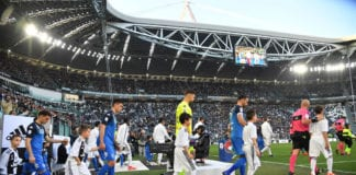 TURIN, ITALY - MARCH 30: Players of Empoli enter the pitch prior to the Serie A match between Juventus and Empoli at Allianz Stadium on March 30, 2019 in Turin, Italy. (Photo by Tullio M. Puglia/Getty Images)