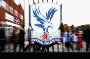 LONDON, ENGLAND - SEPTEMBER 18: The Crystal Palace logo on a gate at the stadium during the Premier League match between Crystal Palace and Stoke City at Selhurst Park on September 18, 2016 in London, England. (Photo by Ian Walton/Getty Images)
