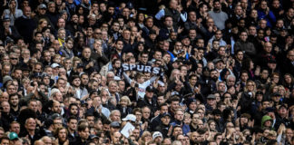LONDON, ENGLAND - OCTOBER 22: Tottenham Hotspur supporters are seen at the stands during the Premier League match between Tottenham Hotspur and Liverpool at Wembley Stadium on October 22, 2017 in London, England. (Photo by David Ramos/Getty Images)