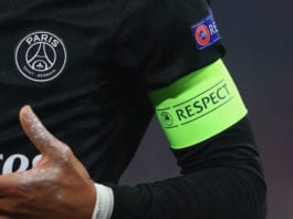 MUNICH, GERMANY - DECEMBER 05: The captain armband with the 'Respect' logo during the UEFA Champions League group B match between Bayern Muenchen and Paris Saint-Germain at Allianz Arena on December 5, 2017 in Munich, Germany. (Photo by Alexander Hassenstein/Bongarts/Getty Images)