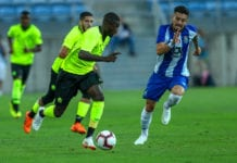 FARO, PORTUGAL - JULY 20: LOSC Lille forward Nicolas Pepe from Ivory Coast (L) tries to escape FC Porto defender Alex Telles from Brazil (R) during the match between FC Porto v LOSC Lille for Algarve Football Cup 2018 at Estadio do Algarve on July 20, 2018 in Faro, Portugal. (Photo by Carlos Rodrigues/Getty Images)