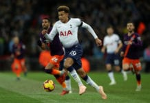 LONDON, ENGLAND - OCTOBER 29: Deli Alli of Tottenham in action during the Premier League match between Tottenham Hotspur and Manchester City at Tottenham Hotspur Stadium on October 29, 2018 in London, United Kingdom. (Photo by Richard Heathcote/Getty Images)