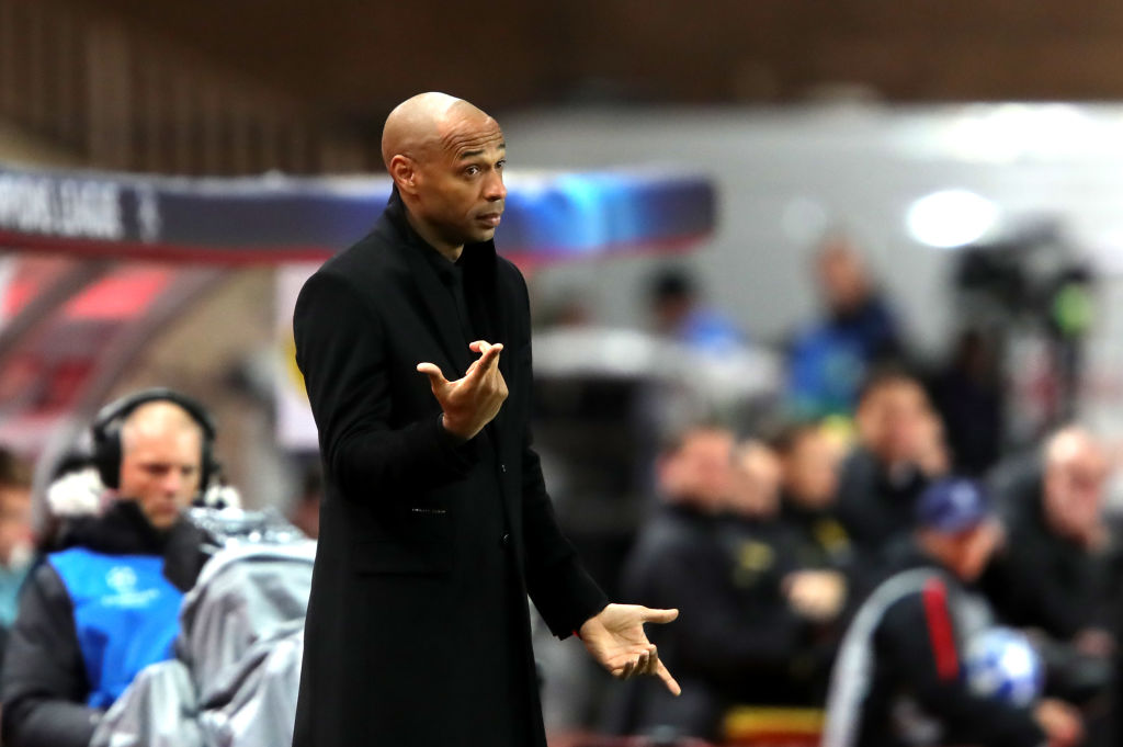 MONACO - DECEMBER 11: Thierry Henry, Manager of Monaco reacts during the UEFA Champions League Group A match between AS Monaco and Borussia Dortmund at Stade Louis II on December 11, 2018 in Monaco, Monaco. (Photo by Alexander Hassenstein/Bongarts/Getty Images)