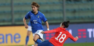 EMPOLI, ITALY - JANUARY 18: Valentina Giacinti of Italy Women in action during the International Friendly match between Italy Women and Chile Women at Stadio Carlo Castellani on January 18, 2019 in Empoli, Italy. (Photo by Gabriele Maltinti/Getty Images)