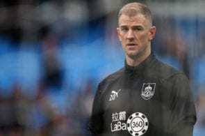 MANCHESTER, ENGLAND - JANUARY 26: Joe Hart of Burnley warms up prior to the FA Cup Fourth Round match between Manchester City and Burnley at Etihad Stadium on January 26, 2019 in Manchester, United Kingdom. (Photo by Alex Livesey/Getty Images)