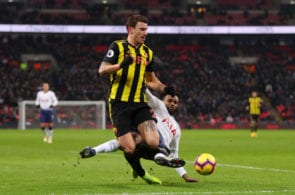 LONDON, ENGLAND - JANUARY 30: Daryl Janmaat of Watford is tackled by Danny Rose of Tottenham Hotspur during the Premier League match between Tottenham Hotspur and Watford FC at Wembley Stadium on January 30, 2019 in London, United Kingdom. (Photo by Catherine Ivill/Getty Images)