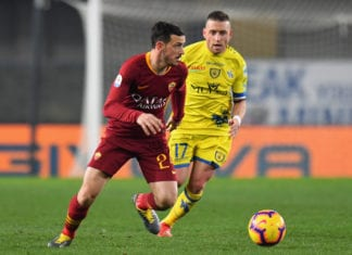 VERONA, ITALY - FEBRUARY 08: Alessandro Florenzi of AS Roma in action during the Serie A match between Chievo Verona and AS Roma at Stadio Marc'Antonio Bentegodi on February 8, 2019 in Verona, Italy. (Photo by Alessandro Sabattini/Getty Images)